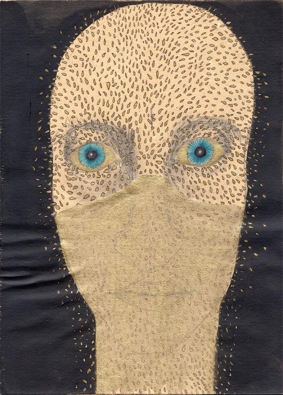 VELADA XIII, 2015. Tinta, gouache oro y grafito sobre papel.