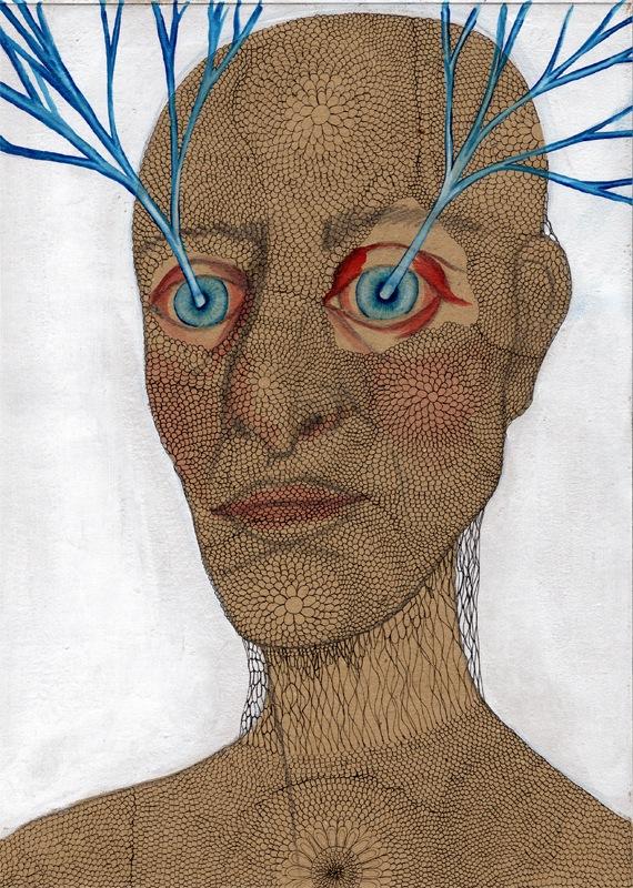 VELADA XVII, 2015. Tinta, acuarela, acrílico y grafito sobre papel.