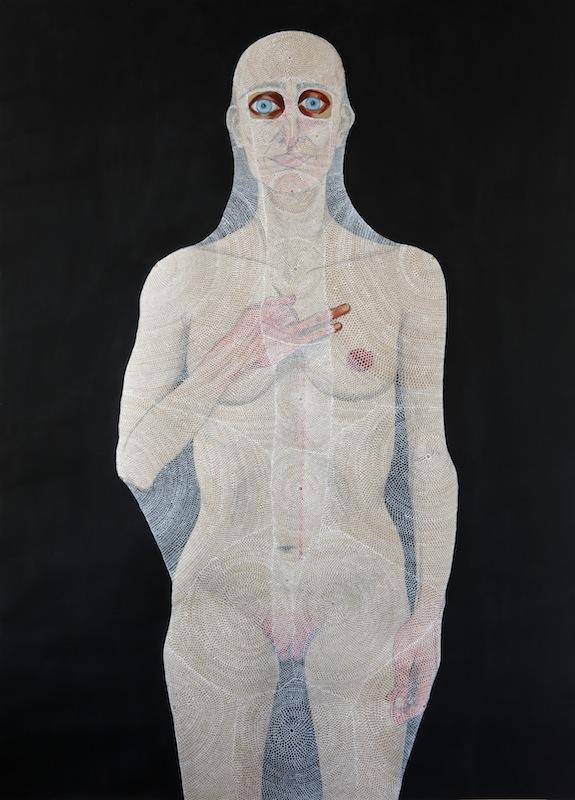 Guerrera I, 2017. Dibujo sobre papel técnica mixta, 109 x 79 cm