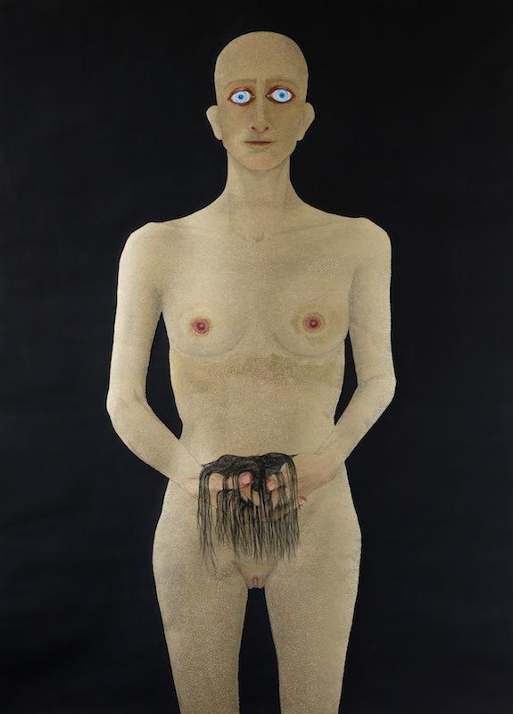 Guerrera II, 2017. Dibujo sobre papel técnica mixta, 109 x 79 cm
